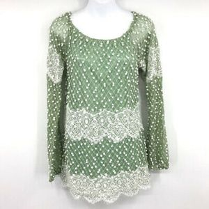 Altar'd State Blouse Top S Polka Lace Trim Scallop